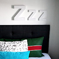 Zzz on the wall - white spray paint