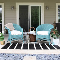 Spray painted wicker chairs