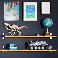 Big reveal: B's blue wall - we built some shelves and made a gallery wall