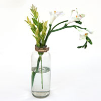 Upcylced vase with metal plumber strap