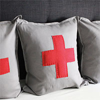 IKEA idea: sew on a Swiss cross to a GURLI pillow