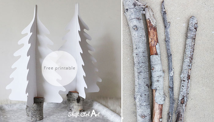 Silhouette Christmas trees in DIY branch holders