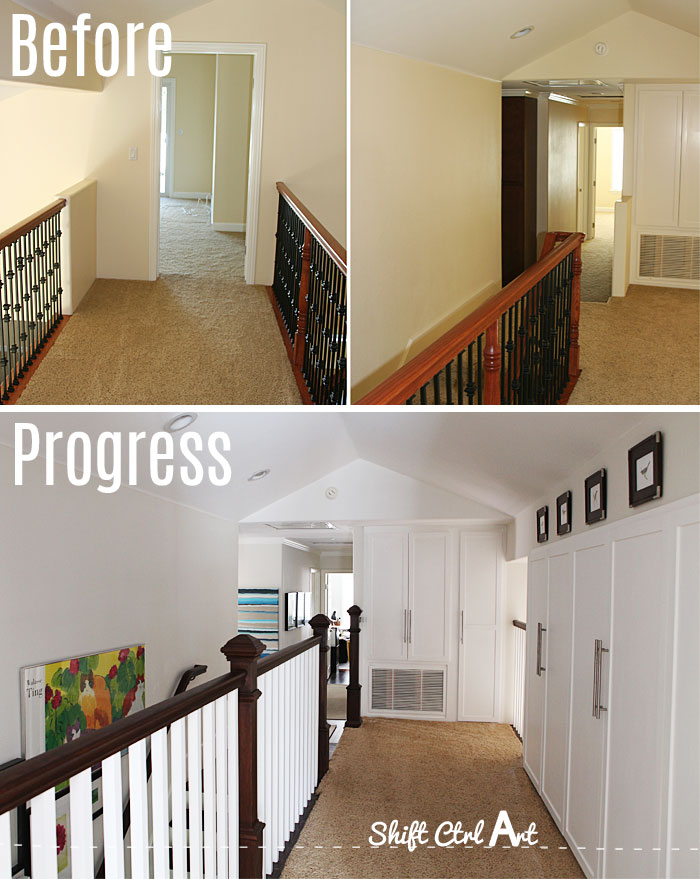 hallway upstairs before and after