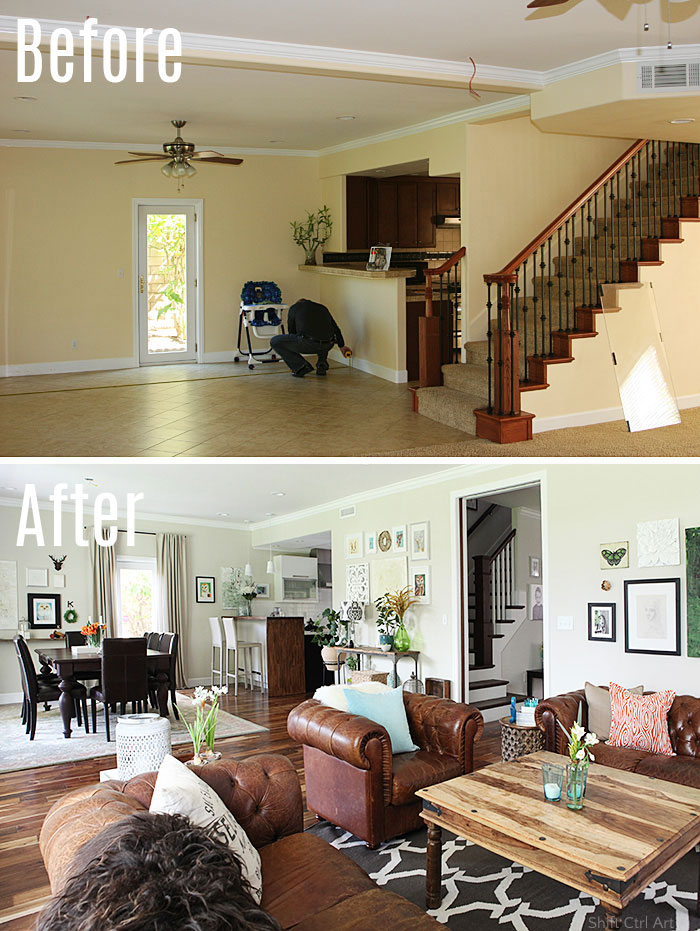 living dining before after