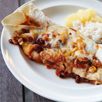Baked Mexican Hawaiian bean chili burritos