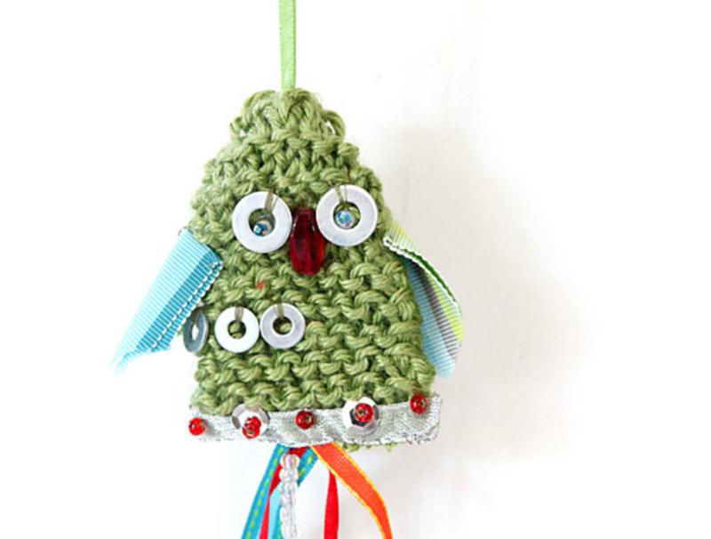 Yule Tide Owls - hand knitted ornaments