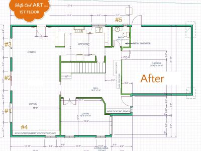 1st floor plan - before and after
