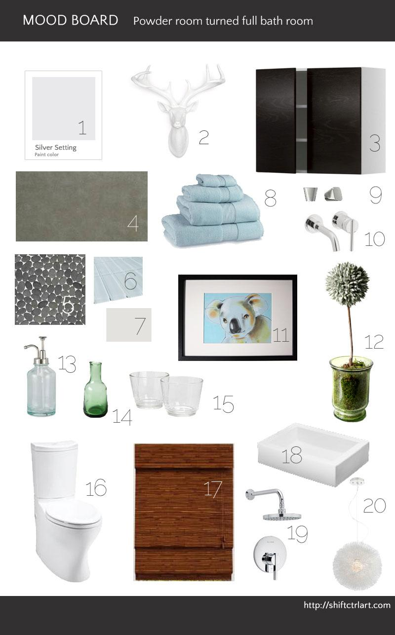 Powder room turned full bath part I - Mood board and before pictures