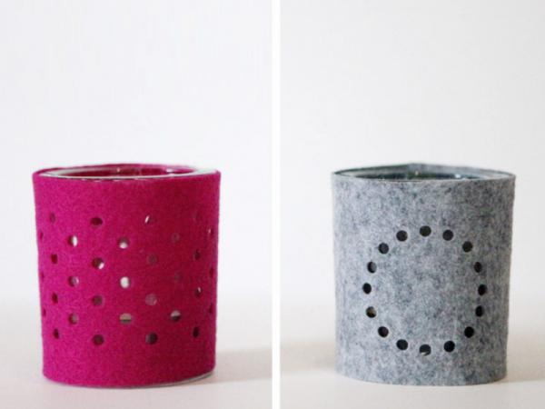 Hand made gifts - felt votive sleeves