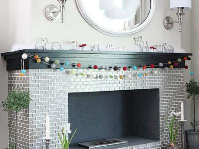 Our Christmas mantle - DIY felted ball garland