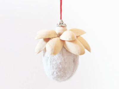 Walnut pistachio ornament and our Christmas tree