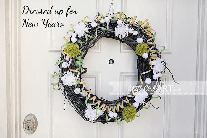 Winter front door wreath - then dressed up for New Years