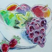Fruit basket - water color crayon