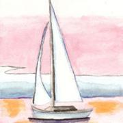 Water color sail boat - cards