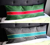 Zip to it: reversible pillow cover with a graphic stripe.