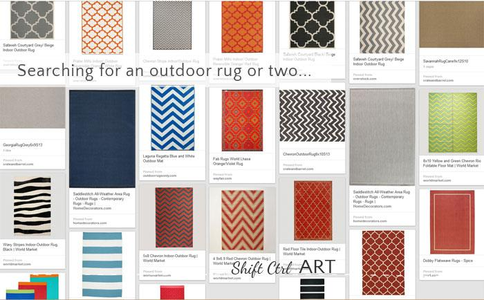 Searching for a rug or two or ... for outside. Find out which one(s) I picked