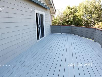 Deck off the master - repaired, planed, painted.
