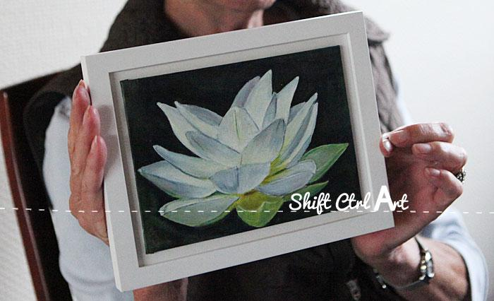 A white lotus flower - acrylic and oil paint on canvas