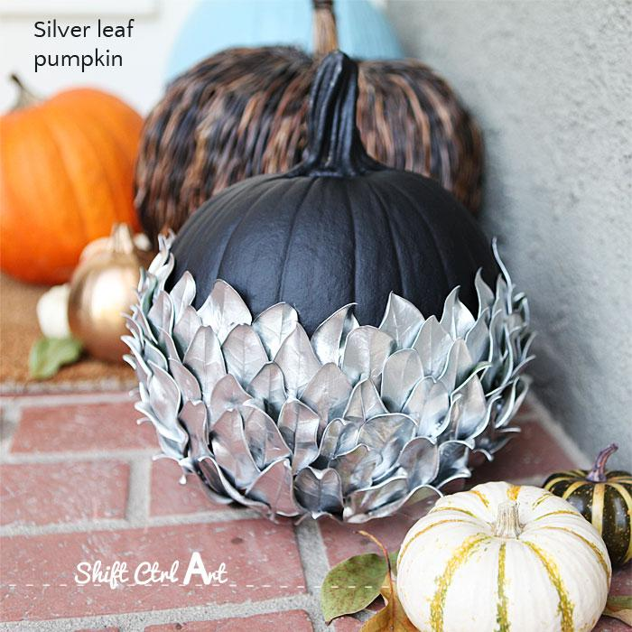 Pumpkin Parade: Silver leaf pumpkin - decorating outside for Halloween