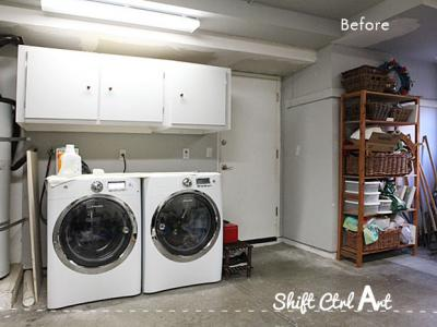 Laundry nook in garage make-over - before and demo