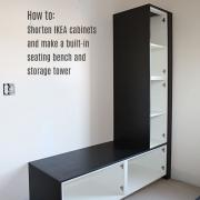 Master bath progress: Shortened built-in IKEA seating bench and cabinet tower