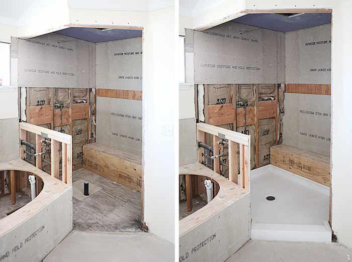 Master bath pan installation and 9 rectangular sink options
