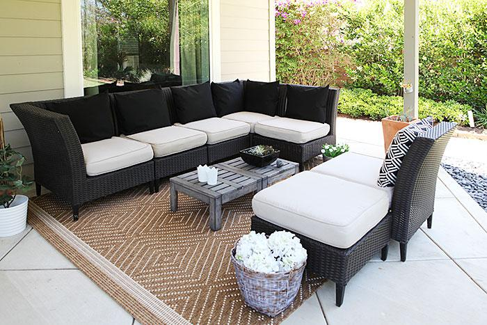 Patio lounge - new rug, pillows and forever succulent