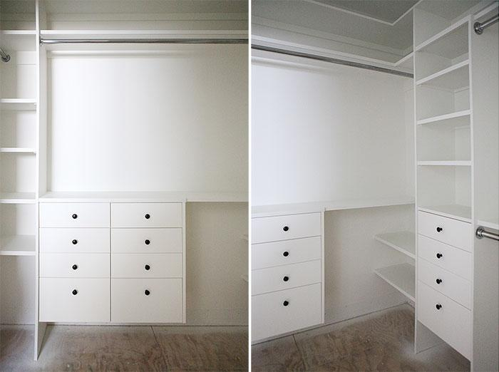 Master closet progress - paint and hardware installation