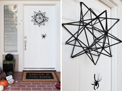 Halloween straw spider web door wreath
