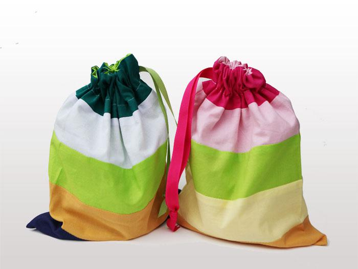 Gift wrap: striped cotton drawstring gift bags for kids