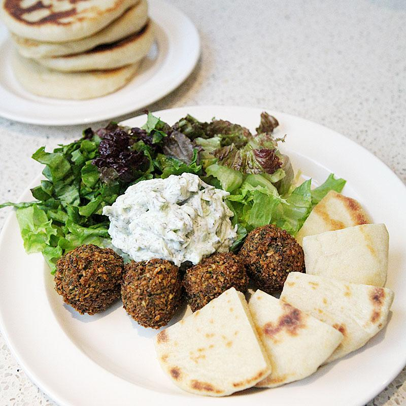 Chick-pea experiment with falafel, pita breadn and tzatziki from scratch